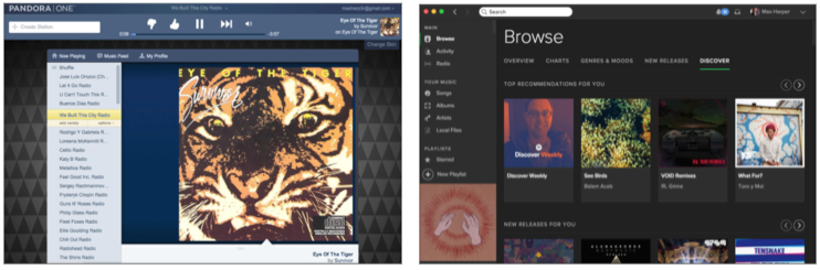screenshots of pandora and spotify